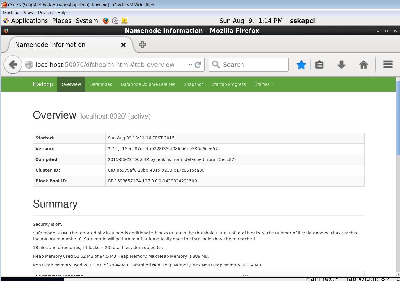 NameNode Web kullanıcı ekranı