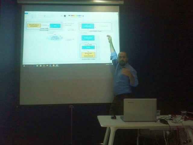 Şafak Serdar Kapçı, Hadoop'u tanıtan kısa bir sunum yaptı.