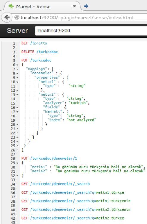 Elasticsearch de yapılan sorguların hepsi, başlarında satır numaraları var.